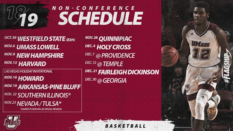 umass basketball announces 2018-19 non-conference schedule